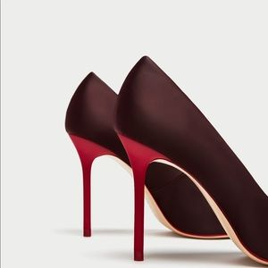 NWT ZARA Satin Court Shoes with Contrasting Heels